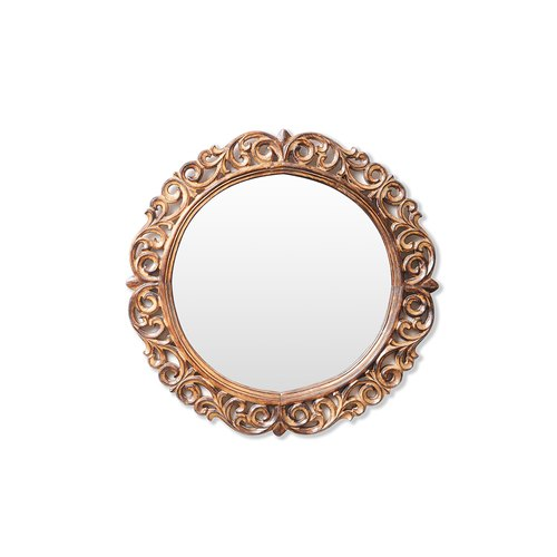 Carving Natural Wood Carved Wooden, Carved Wooden Round Mirror