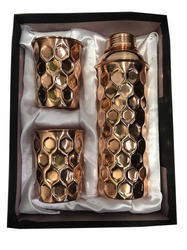 CopperKing Copper Gift Set Diamond Fanta Bottle With 2 Glass