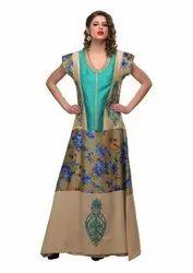 Printed Georgette Beige Tiffany Embroidered Maxi Dress Kaftans Abaya, Size: S-3XL