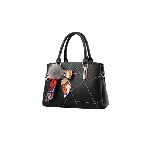 cc12a6d30bf68 Vismiintrend Black Satin Black PU Leather Trendy Handbag, Rs 1299 ...