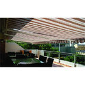 Striped Motorized Balcony Awning