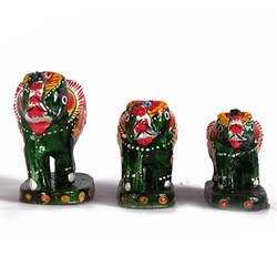 Rawsome Shack Multi Color Elephant Set With Standing Base- Set Of Three