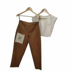 Cotton Round Neck Ladies Plain Crop Top Pant Set, Size: Medium