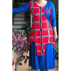 Red And Blue Ladies Checked Kurti