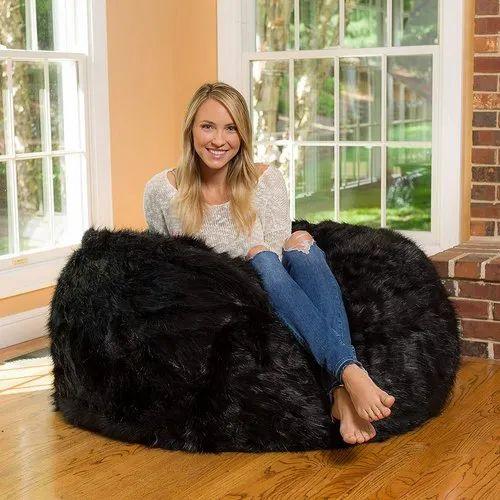 Outstanding Black Round Fur Bean Bag Evergreenethics Interior Chair Design Evergreenethicsorg