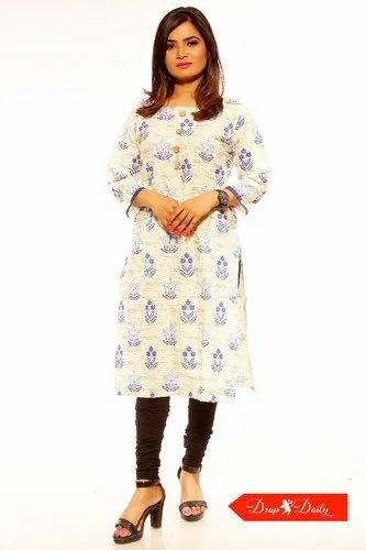 Casual Wear Straight Printed Chanderi Cotton Kurti