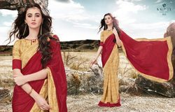 Beige & Red Color Crepe Silk Printed Designer Saree