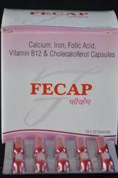 Iron, Calcium, Folic Acid, Vitanim D3 Vitamin B12 Capsules, 10 X 10