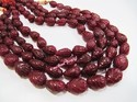 Dyed Ruby Hand Carved Drop Shape Beads