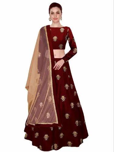 0670ff06488 Women  s Taffeta Silk Embroidered Work Lehenga Choli (Maroon