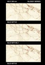 Ceramic Glossy GLO 1077 Bathroom Wall Tiles, Size: 10-12 inch, Thickness: 0-5 mm