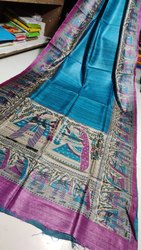 Pure tussar  madhubani screen print saree