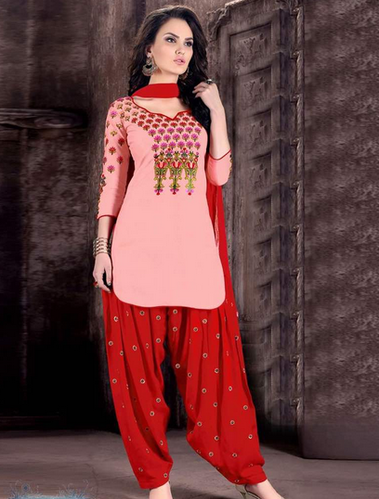 57cb09a6f1 Pink And Red Pure Cotton (2.20 M) Women Patiala Suit, Rs 1350 /piece ...