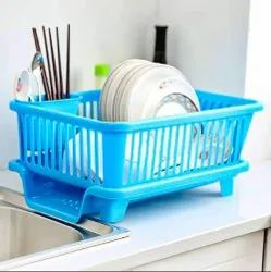Kitchen Sink Organiser & 3 In 1 Dish Rack Drainer Drying Rack Washing Basket With Tray For Kitchen
