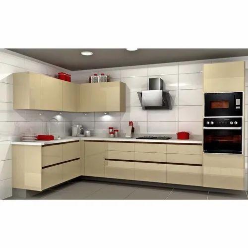 Sleek World Wooden Acrylic L Shaped Modern Kitchen