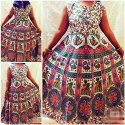 Printed Cotton Ladies Round Neck Long Dress