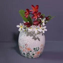 White & Grey Handicraft Fanusta Nishaat Flamingos Terracotta Vase