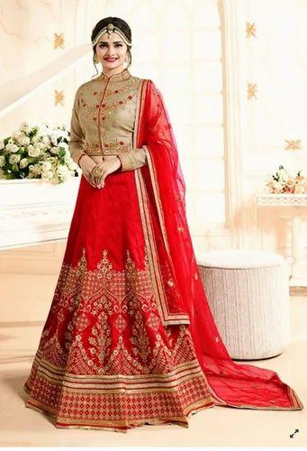 3a7e468dc3 Stitched Wedding Wear Red Color Banglori Silk Lehenga Choli, Rs 9788 ...