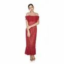 Western Red Party Wear Off Shoulder Lace Dress