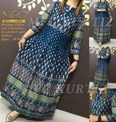 Stitched Blue MFC 1084 Cotton Printed Gown, Size: 38 - 44