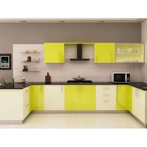 Modular Kitchen Cabinets Green And Off White Wooden Modular Kitchen Cabinet, Rs 1350