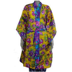 Cotton Yellow Floral Print Bathrobes Dressing Gown