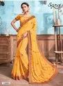 Yellow Color Fancy Party Wear Border Saree