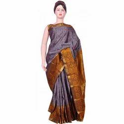 Mustard And Grey Festive Wear Designer Silk Saree, With Blouse Piece