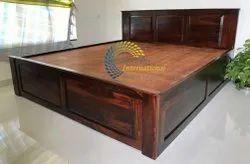 Sheesham Dark Honey Panel Double Bed With Top Lift Storage
