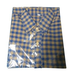 Mens Half Sleeves Check Khadi Shirt