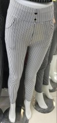 Striped Pattern Ladies Linen Cotton Jeggings