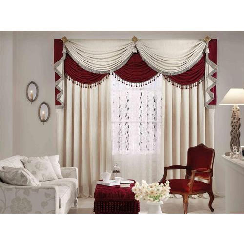 Maroon And Cream Plain Fancy Window Curtain, Rs 750 /meter