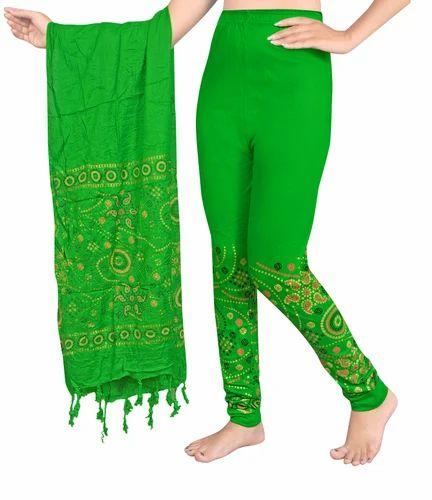 a6d355e318d72 Green Cotton Bandhani Print Leggings With Dupatta Set, Rs 230 /set ...