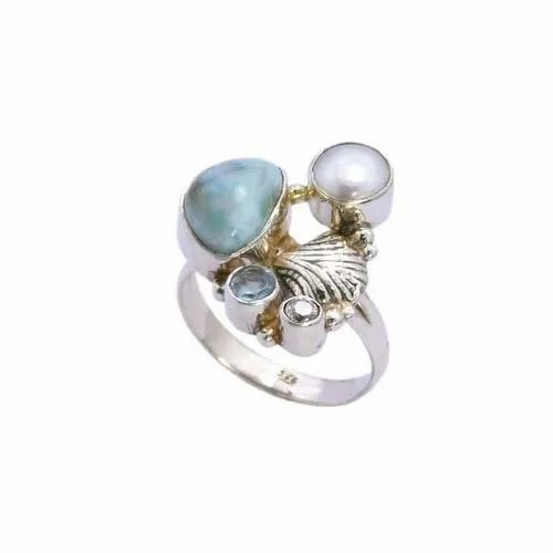 adjustable ring aquamarine fancy stone ring size US 6.5 925 sterling silver