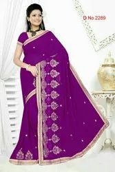 Fashionable Embroidery Work Saree
