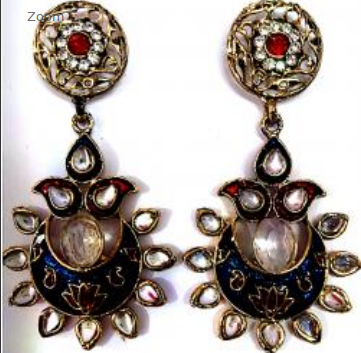 Vismay Creation blue and red color stone fashion earring