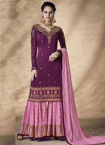 edaee5d921 Magenta Party Wear Eid Special Georgette Satin Embroidery Work Sharara  Salwar Suit