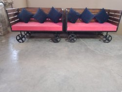 Wooden Cart Metal Fitted Sofa