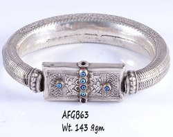 Old Silver Afghani Style Bangle, 143.9, Size: 5.5