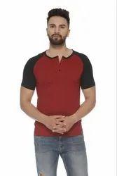 Half Sleeve Casual Wear VEIRDO 100 Percent Cotton Maroon Color Black T-Shirt