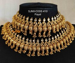 Copper Kundan Traditional Golden Rose Gold Anklets for Women