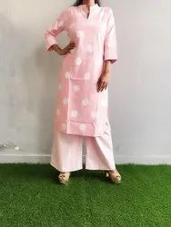 Cotton Kurti with Palazzo for Casual Wear