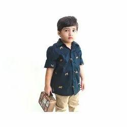 Printed Navy Blue Kids Cotton Casual Shirt