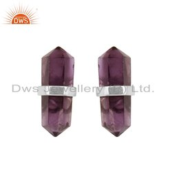 Pencil Shaped Amethyst Gemstone Fine Silver Earrings