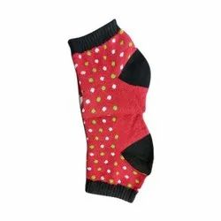 Red Ladies Dotted Cotton Lycra Socks, Size: S-XL