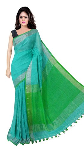 Party wear Plain Linen Saree, 6.3 m (with blouse piece)