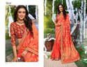 Party Fancy Orange Color Sarees