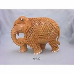 Brown Wooden Wood Handicraft Elephant, For Showpiece