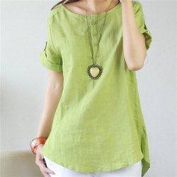 Light Green Plain Ladies Cotton Long Top, Size: S, M, L, XXL