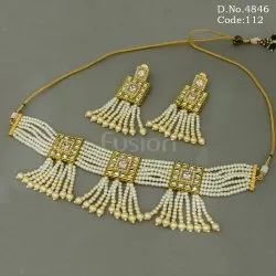 Traditional Polki Pearl Choker Necklace Set